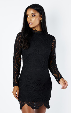 Lilah Lace High Neck Long Sleeve Mini Dress Black by Girl In Mind