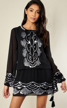 Sequin Embroidered Mini Dress by Bella and Blue