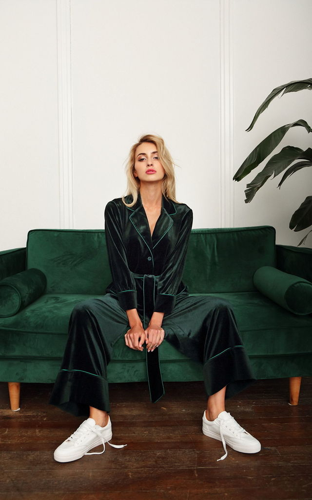 Velvet Suit w/Belt - Green by Lucia Berutto Europe