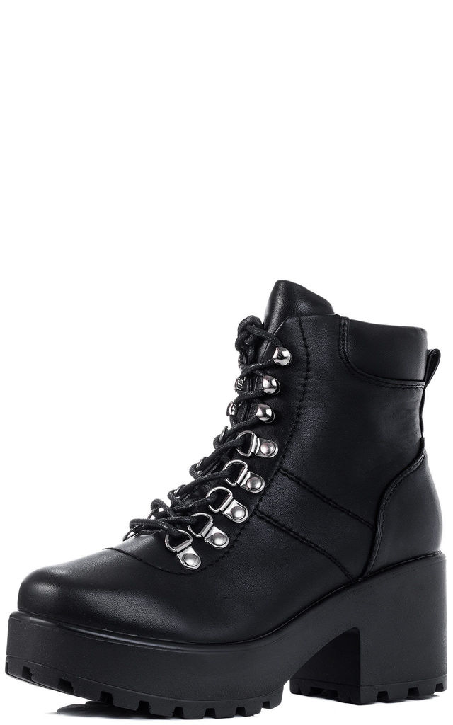 d819ced948ae SHOTGUN 3 Lace Up Block Heel Ankle Boots Shoes - Black Leather Style by  SpyLoveBuy