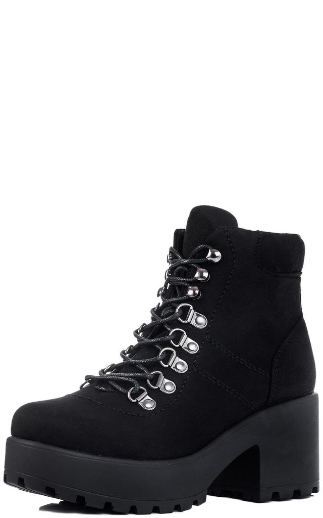 7a9df5768655 SHOTGUN 3 Lace Up Block Heel Ankle Boots Shoes - Black Suede Style by  SpyLoveBuy