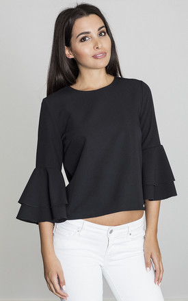 Frill Sleeve Blouse in Black by FIGL