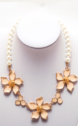 Penta-Petal Rose Gold Pearl Necklace by Cutie London