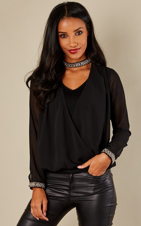 Black Embellished Choker Long Sleeve Wrap Top by Bella and Blue Product photo