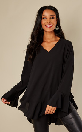 Black Frill Bottom Flared Sleeve Top by London End Product photo