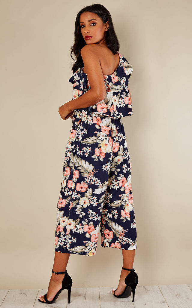 Navy One Shoulder Layered Floral Jumpsuit by Bella and Blue