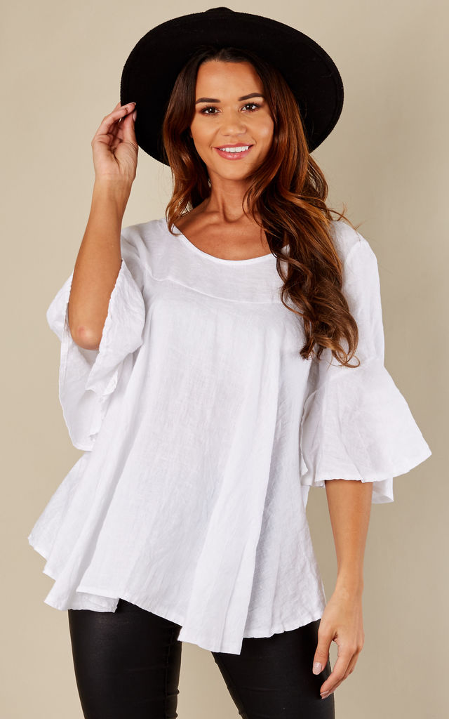 White Linen Flared Sleeve Baggy Top by Bella and Blue