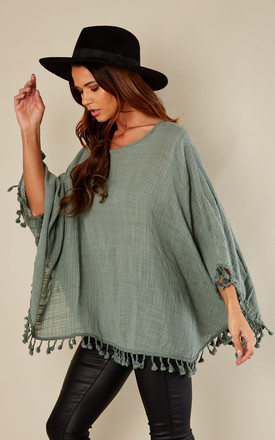 Khaki Linen Kaftan With Pom Pom Trim by Bella and Blue