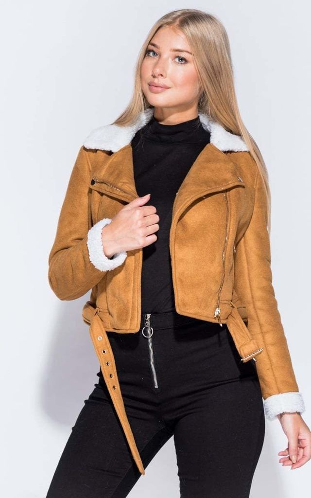Suedette Borg Collar Biker Jacket - Tan by AJ | VOYAGE