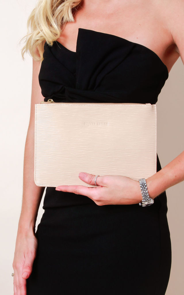 Small Ribbed Leather Clutch Bag - Nude by Pretty Lavish