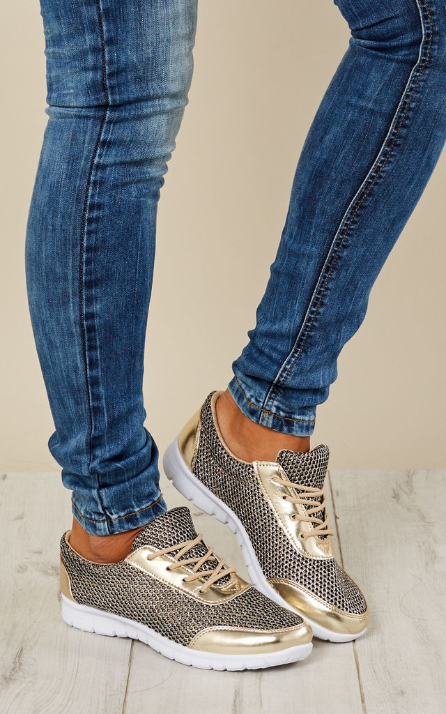 Gold Glitter Honeycomb Mesh Lace Up Trainers by Bella and Blue