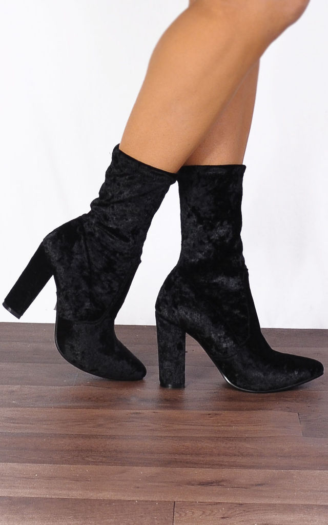Black Velvet Crush Sock Pointed Ankle Boots High Heels by Shoe Closet