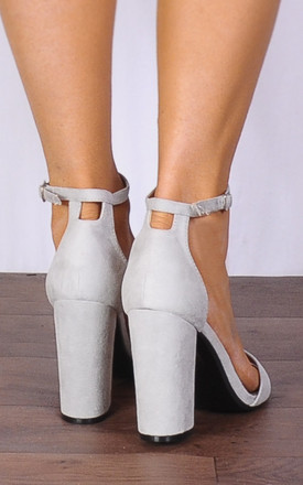 Grey Barely There Peep Toes Strappy Sandals High Heels by Shoe Closet