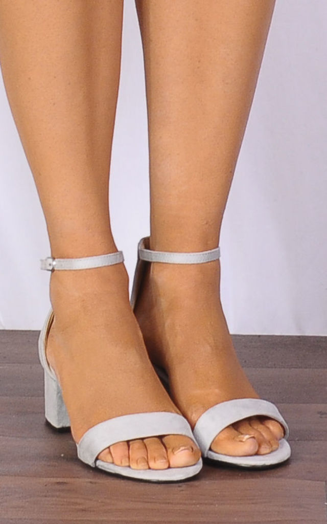 Grey Faux Suede Barely There Low Heeled Strappy Sandals by Shoe Closet