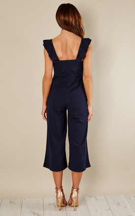 Navy Culotte Frill Jumpsuit by Lilah Rose