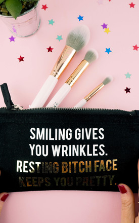 Resting Bitch Face Keeps You Pretty Make Up Bag - Black by Rock On Ruby