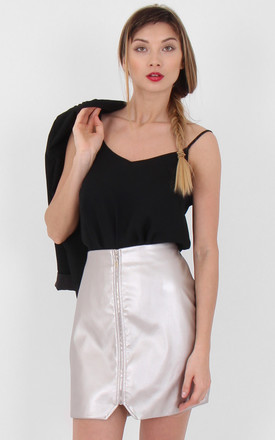 Silver Faux Leather Zip Front Asymmetric Mini Skirt by MISSTRUTH