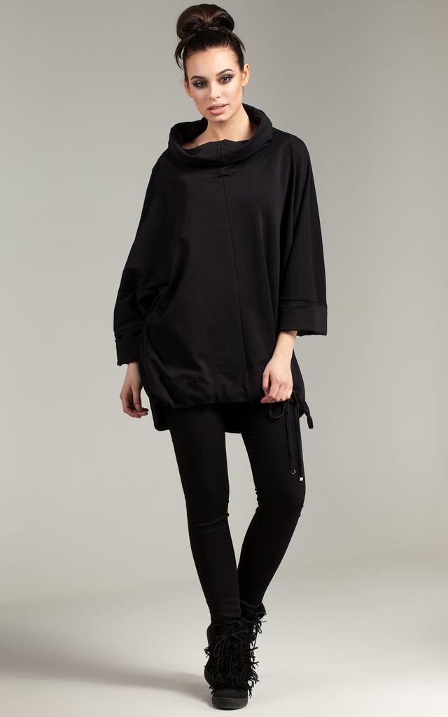 Black tunic with turn up sleeves by MOE