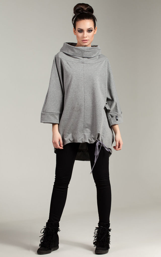 Grey tunic with turn up sleeves by MOE