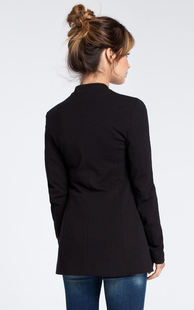 Black soft cotton open blazer by MOE