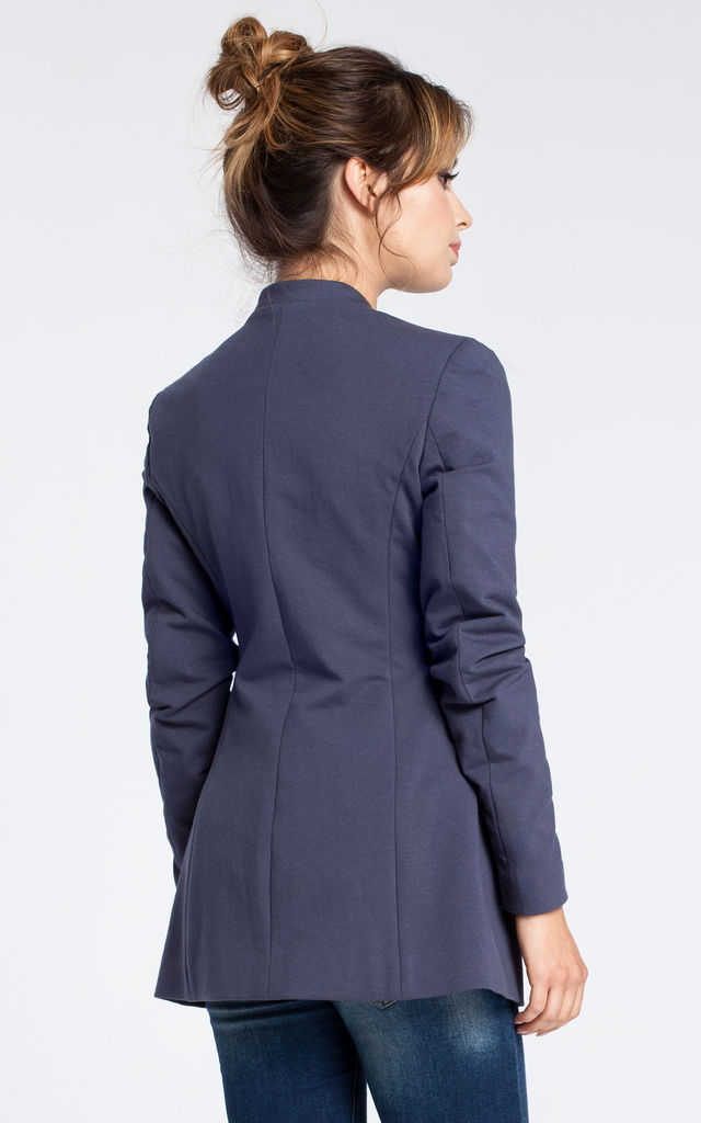Blue soft cotton open blazer by MOE