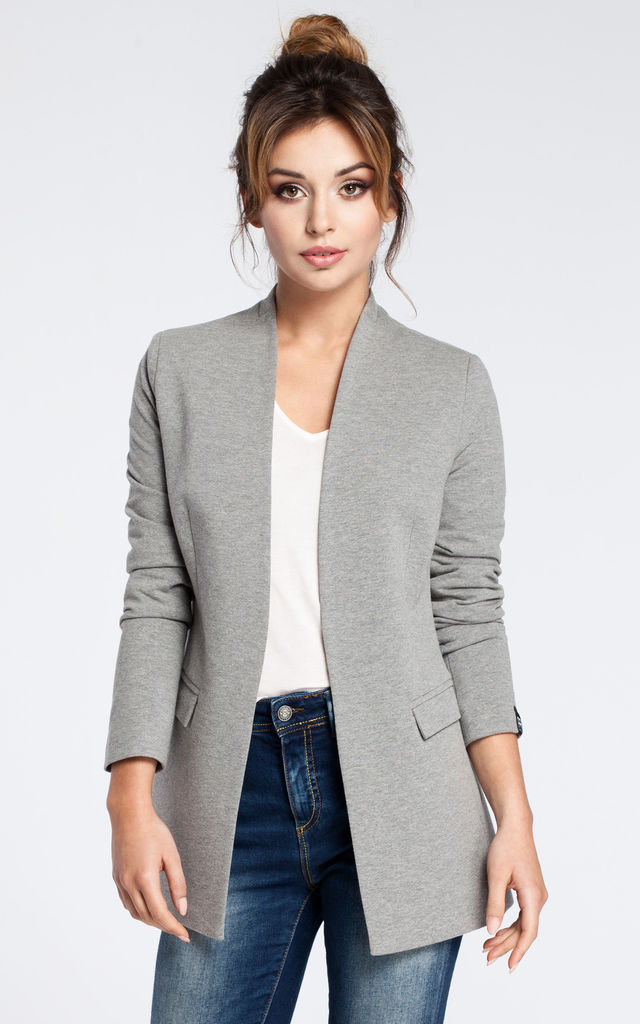 Grey soft cotton open blazer by MOE