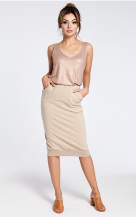 Beige stretchy knit pencil skirt with ribbed trim hem by MOE