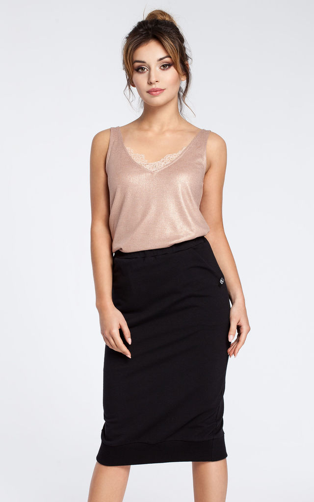 Black stretchy knit pencil skirt with ribbed trim hem by MOE