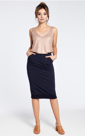 Navy blue stretchy knit pencil skirt with ribbed trim hem by MOE