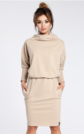 Beige dress with a knee length pencil skirt by MOE
