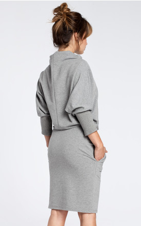 Grey dress with a knee length pencil skirt by MOE