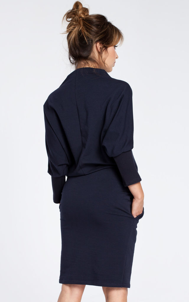 Navy blue dress with a knee length pencil skirt by MOE