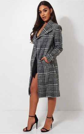 Black & White Check Print Coat by The Fashion Bible