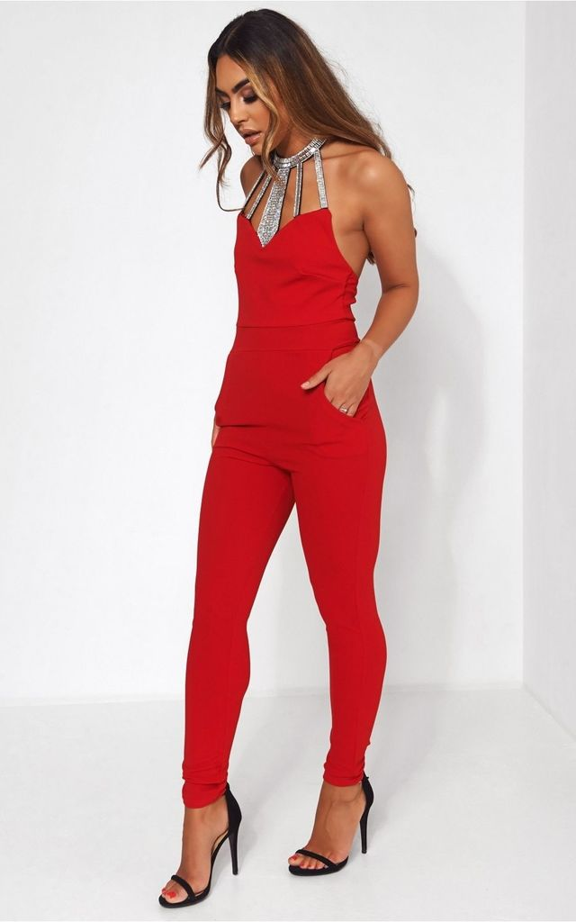 Bloom Red Embellished Backless Jumpsuit by The Fashion Bible