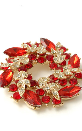 Rubylike Floral Brooch by Cutie London