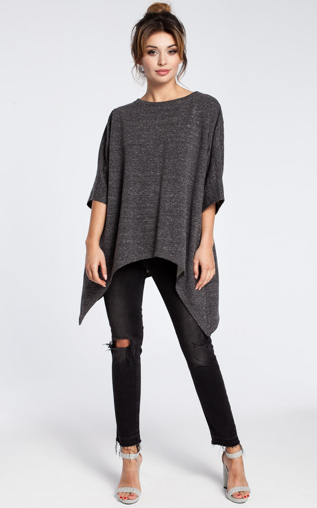 Graphite tunic with side pockets and kimono sleeves by MOE