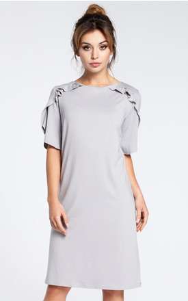 Grey simple shift viscose dress by MOE