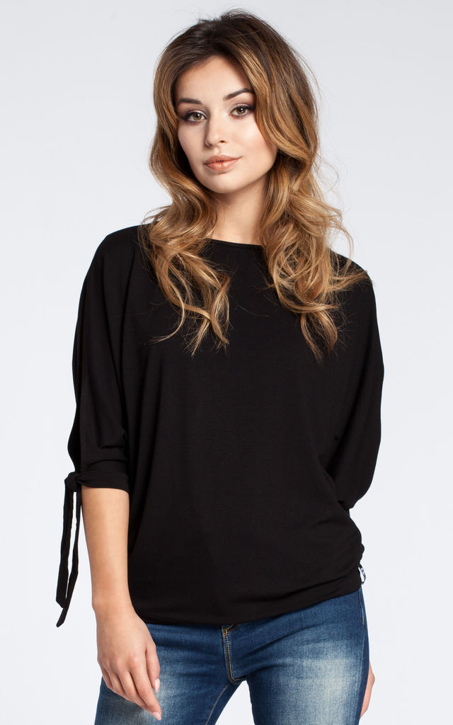 Black blouse with open shoulder and tie short kimono sleeve by MOE