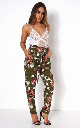 Floral Tie Waist Trousers by The Fashion Bible