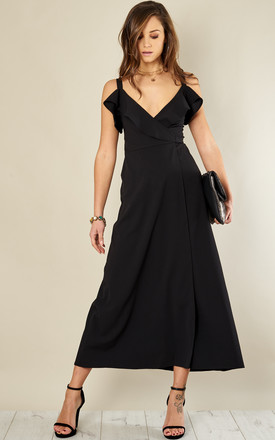 Black Frill Top Maxi Dress by John Zack Product photo