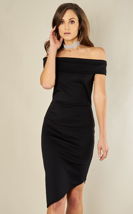 Black Scuba Off The Shoulder Asymmetric Hem Dress by Luna Product photo