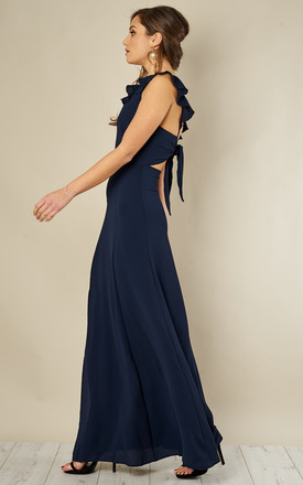 Navy Tie Back Maxi Dress by John Zack