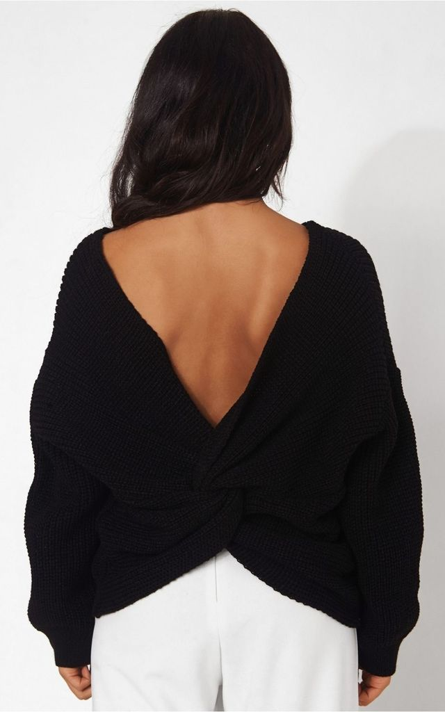 Amelia Black Twist Front Jumper by The Fashion Bible