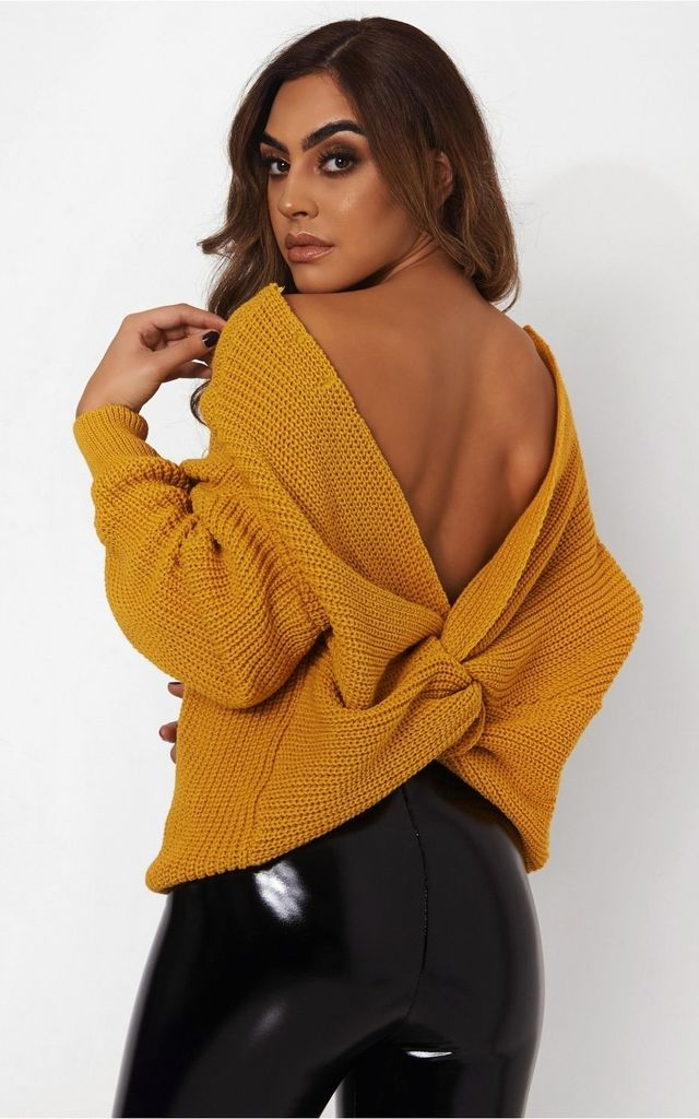 ce2dc30c5e3328 Amelia Mustard Twist Front Jumper by The Fashion Bible