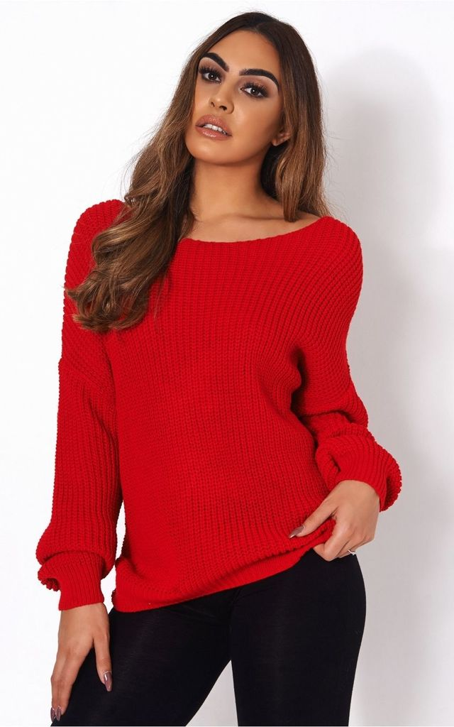 Amelia Red Twist Jumper by The Fashion Bible