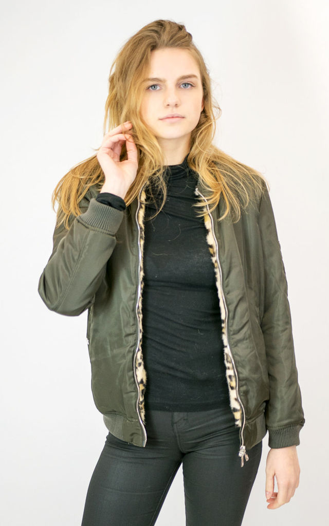 LIONA BOMBER JACKET WITH LEOPARD FAUX FUR LINING GREEN by Lucy Sparks