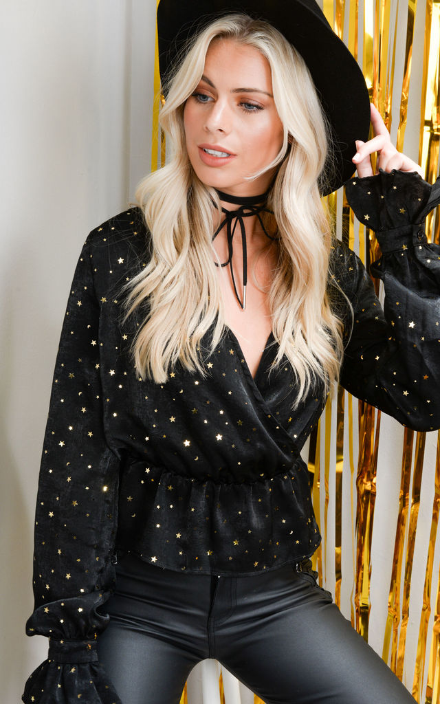 Gold Star Wrap Over Sequin Plunge Satin Peplum Shirt Top Black by LILY LULU FASHION