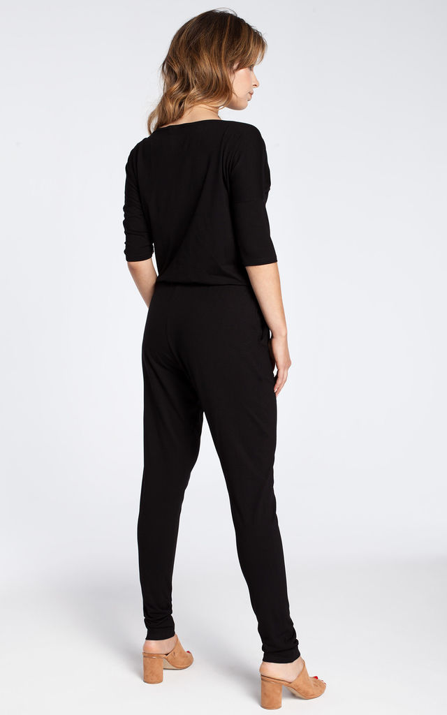 Black casual jumpsuit with a blouson top and slim legs by MOE