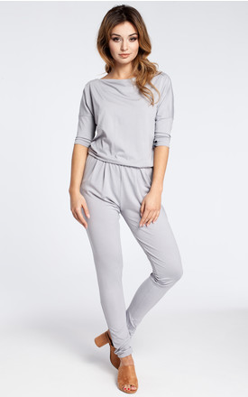 Grey casual jumpsuit with a blouson top and slim legs by MOE