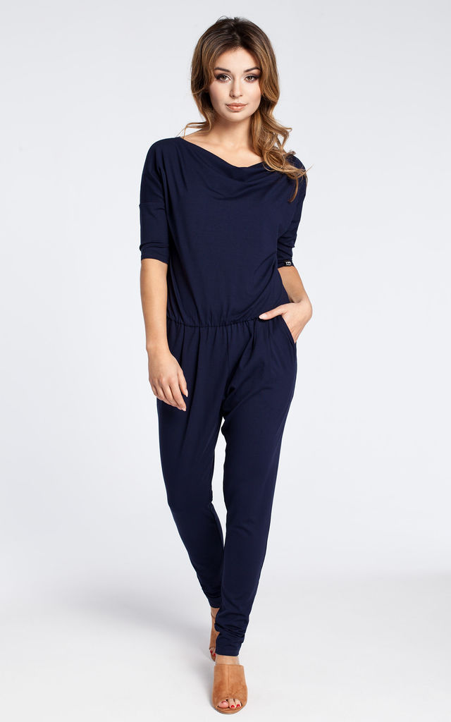 Navy blue casual jumpsuit with a blouson top and slim legs by MOE